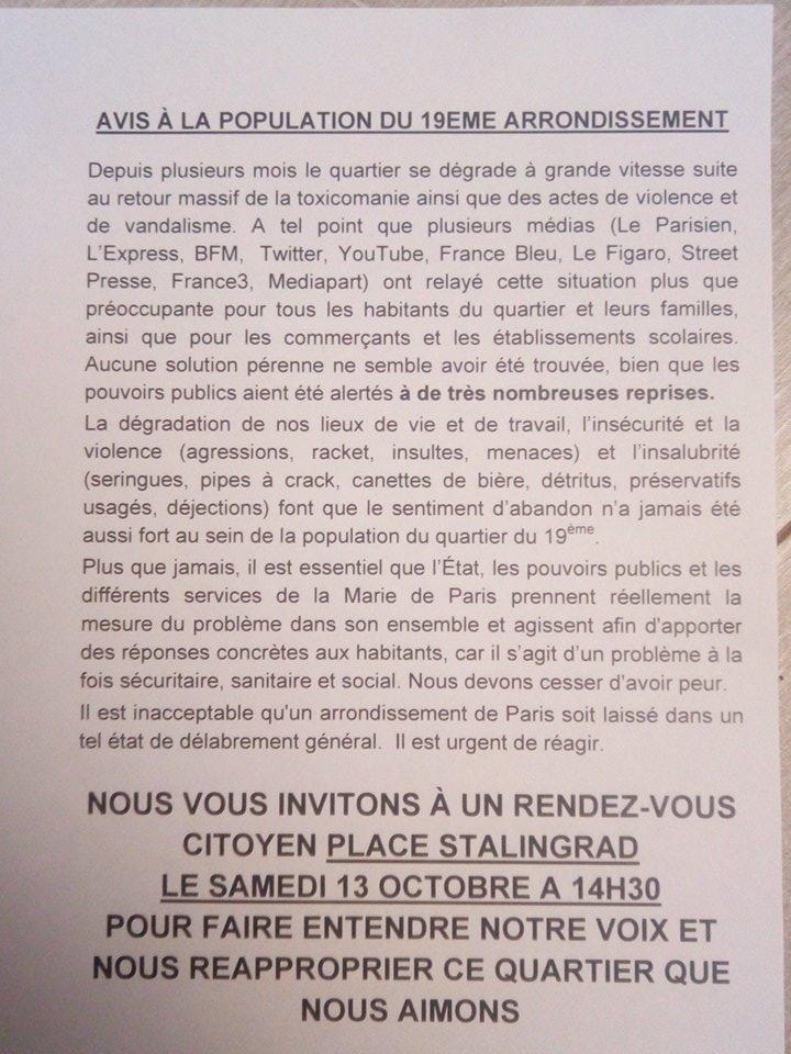 Aimer Paris appelle à se joindre à la manifestation des habitants du 19ème demain 13 octobre à 14 heures 30 place de la bataille de Stalingrad !